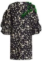 DELPOZO Collarless embellished cotton-blend coat