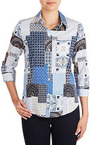 Allison Daley 3/4 Sleeve Patch Print Button-Front Blouse