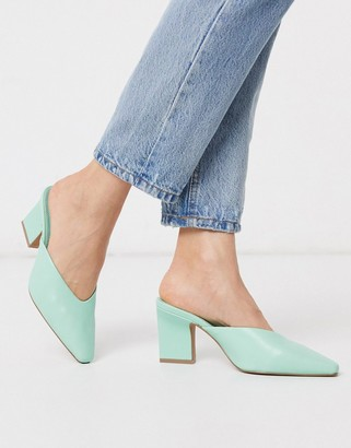 Asos DESIGN Solve mid-heeled mules in mint green