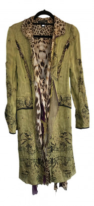 Roberto Cavalli Green Silk Coats