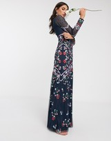 Maya all over floral embellished longsleeve sleeve maxi dress in navy
