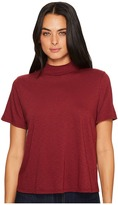 Michael Stars Cotton Supima Mock Neck Crop Tee Shirt Women's Clothing