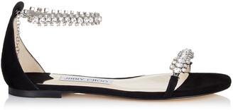 Jimmy Choo SHILOH FLAT Black Suede Flat Open Toe Sandals with Jewel Trim