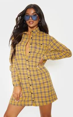 PrettyLittleThing Yellow Checked Oversized Shirt Dress