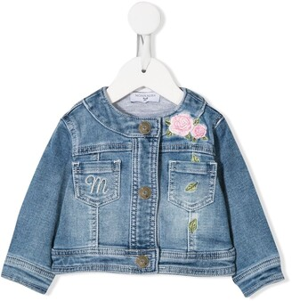 MonnaLisa Flower Embroidery Denim Jacket