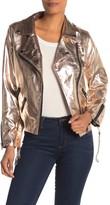ENGLISH FACTORY Metallic Faux Leather Moto Jacket