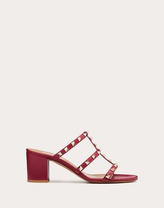 Valentino Rockstud Calfskin Leather Slide Sandal 60 Mm Women Raspberry Pink Calfskin 100% 39.5