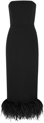 16Arlington Minelli black feather-trimmed midi dress