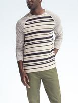 Banana Republic Linen Stretch Long-Sleeve Stripe Raglan Crew