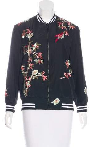 Alice + Olivia Embroidered Bomber Jacket