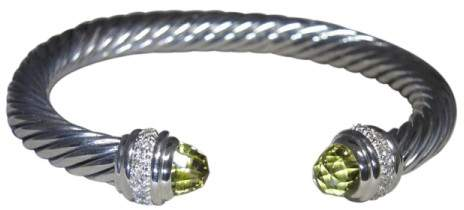 David Yurman 925 Sterling Silver Lemon Citrine & Diamond Cuff Bracelet