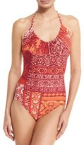 Fuzzi Mosaic Lace-Print Halter One-Piece Swimsuit