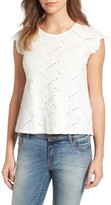 Lucky Brand Women's Flutter Sleeve Eyelet Top
