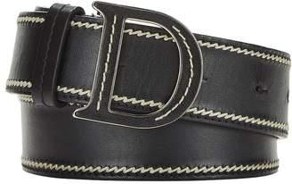 Christian Dior Black Leather Logo Belt 80
