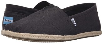 Toms Rope Sole Classics (Washed Black Linen Rope Sole) Men's Slip on Shoes