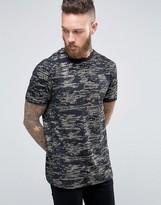 Asos Longline T-shirt With Gold Metallic Pattern