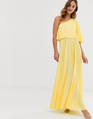 Asos Design DESIGN one shoulder pleated crop top maxi dress-Yellow