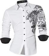 Sportrendy Men Slim Casual Long Sleeves Button Down Dress Shirt JZS041 M