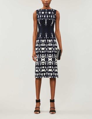 Azzedine Alaia Graphic-pattern stretch-knit midi dress