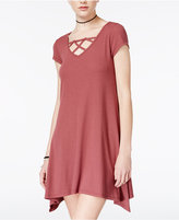 Almost Famous Juniors' Lattice-Detaill Handkerchief-Hem Dress