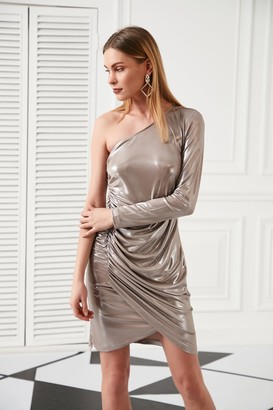 Jenerique One Shoulder Draped Mini Dress for Summer Party in Cappuccino colour