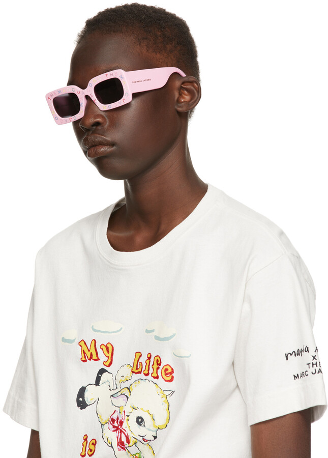Thumbnail for your product : Marc Jacobs Pink 'The Logo' Rectangular Sunglasses
