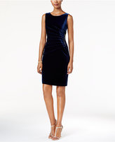 Ivanka Trump Zipper-Trim Velvet Sheath Dress