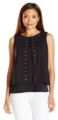 Rafaella Women's Petite Solid High Twist Layered Sleeveless Top with Grommets
