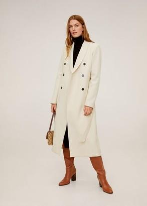 MANGO Buttoned wool coat ecru - XS - Women