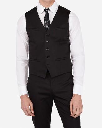 Express Black Cotton Sateen Stretch Suit Vest
