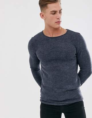 Selected knitted crew neck sweater-Blue