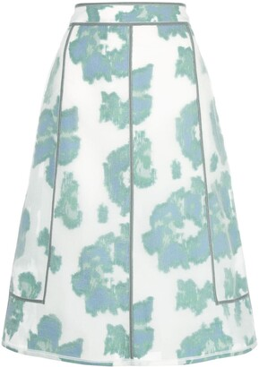 3.1 Phillip Lim Abstract Daisy a-line skirt