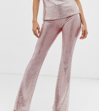 John Zack Tall flare pants in pink sequin-Silver