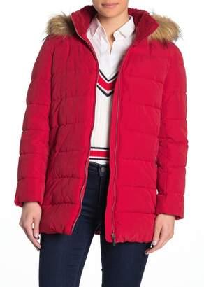 Tommy Hilfiger Faux Fur Trim Puffer Jacket