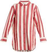 Marques Almeida MARQUES'ALMEIDA Point-collar striped linen and cotton-blend shirt