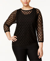 Anne Klein Plus Size Sheer Mesh Top
