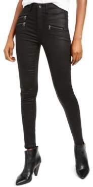 KENDALL + KYLIE Coated Zipper-Pocket Skinny Jeans