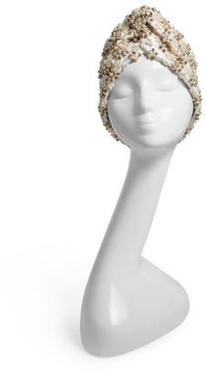 MaryJane Claverol Pearl-Bead Rhinestone Knot Turban