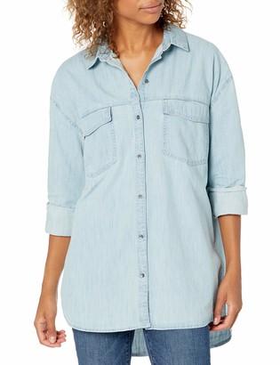 Goodthreads Amazon Brand Women's Denim Oversize Two-Pocket Shirt