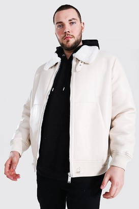 boohoo Mens White Plus Size Leather Look Aviator Bomber Jacket, White