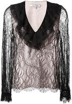 Alexis ruffled V-neck lace blouse - women - Silk/Nylon/Polyester/Spandex/Elastane - S