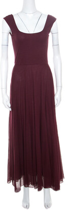 Ralph Lauren Burgundy Cotton Knit Sleeveless Fit and Flare Maxi Dress XS