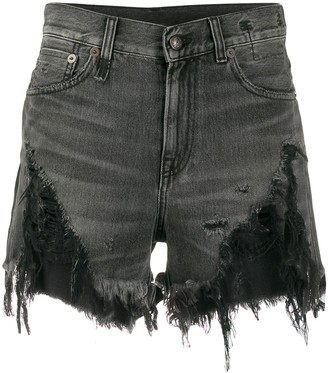 R 13 High Rise Distressed Denim Shorts