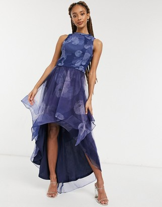 Chi Chi London Farcia high low mesh dress in navy floral