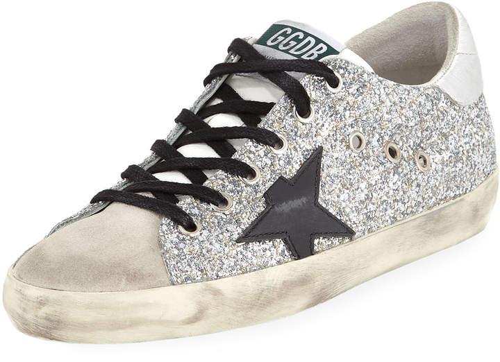 Golden Goose Superstar Glitter Fabric & Suede Low-Top Sneakers
