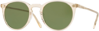Oliver Peoples Men's O'Malley Peaked Round Sunglasses with Mineral Glass Lenses - Buff Green