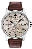 HUGO BOSS Aviator Stainless Steel Multifunctional Leather Strap Watch
