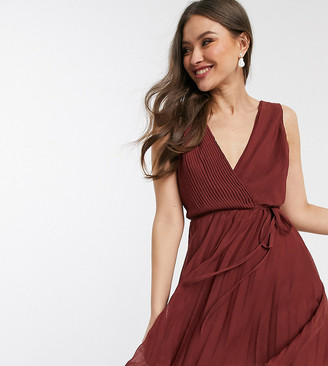 Asos Design DESIGN wrap bodice mini dress with tie waist and pleat skirt-Red