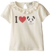"Armani Junior Ivory Cap Sleeve Tee w/ Ruffle Collar w/ ""I Love Panda"" (Infant)"