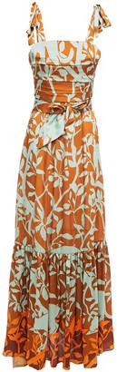 Johanna Ortiz Belted Embellished Printed Crepon Maxi Dress